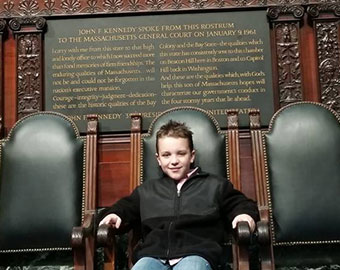 Sitting In JFK's Chair <br> At The MA State House