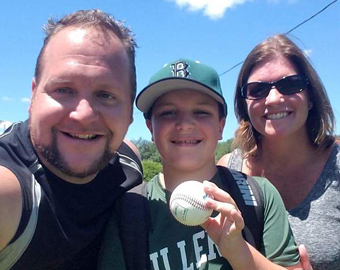 Celebrating With Mom & Dad After<br>Getting Back My 1st Homerun Ball